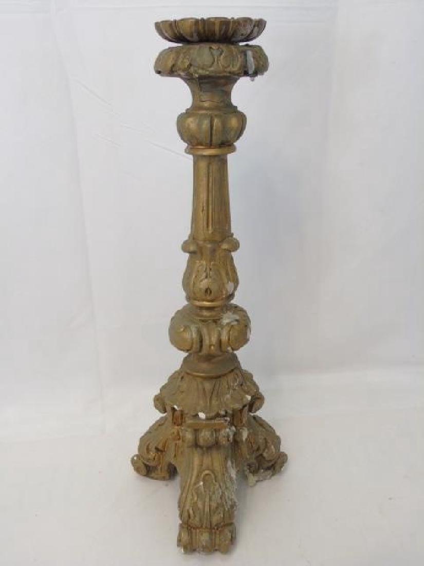 Two Ornate Italian Baroque Style Gilt Candlesticks - 2