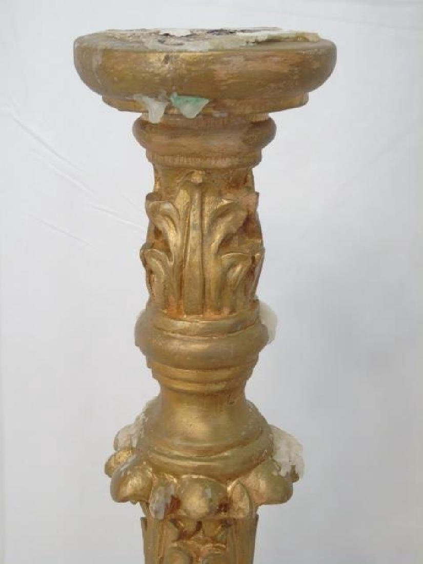 Two Ornate Italian Baroque Style Gilt Candlesticks - 4