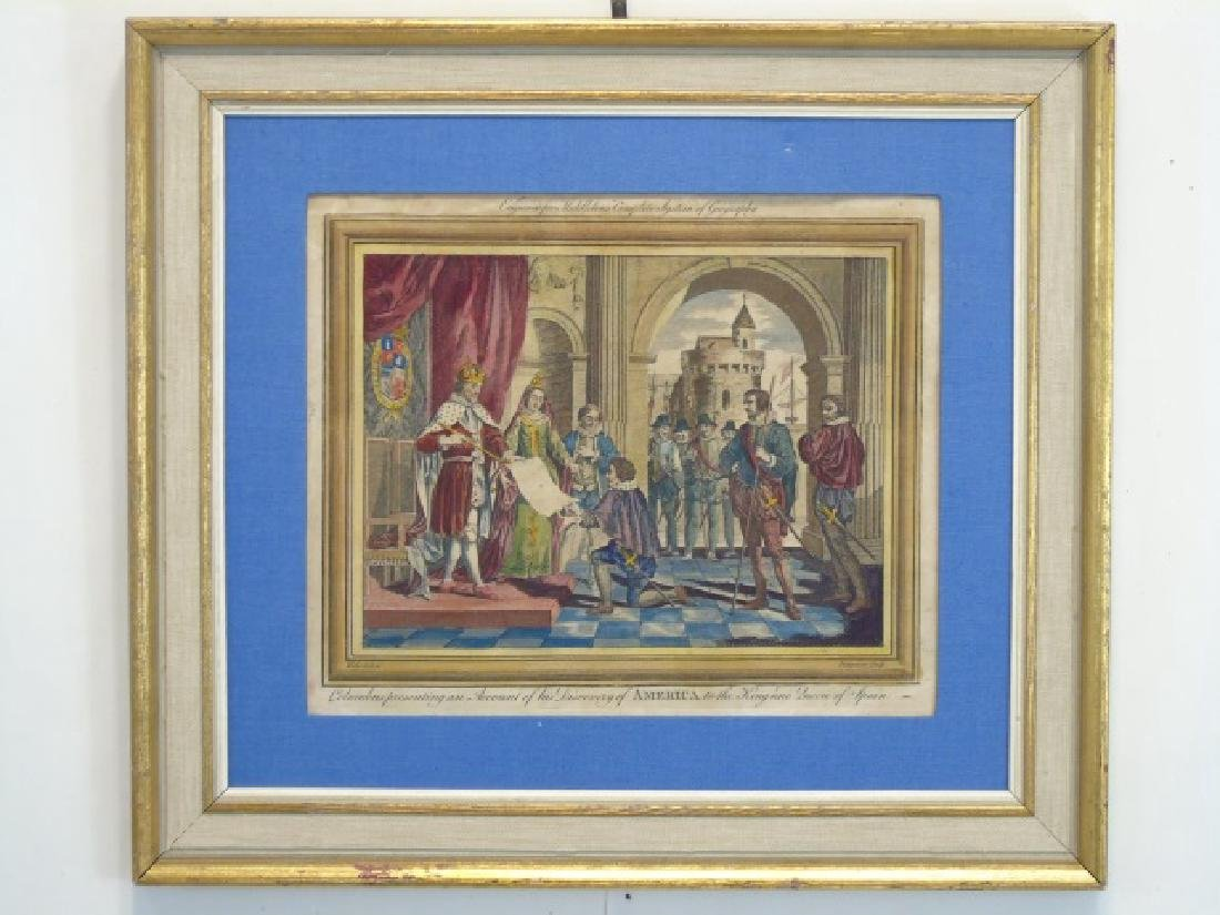 Antique Christopher Columbus Framed Engraving