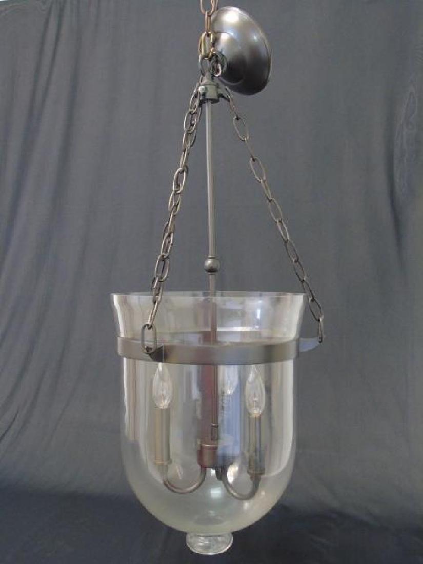 Glass Inverted Cloche 3 Arm Lantern Chandelier