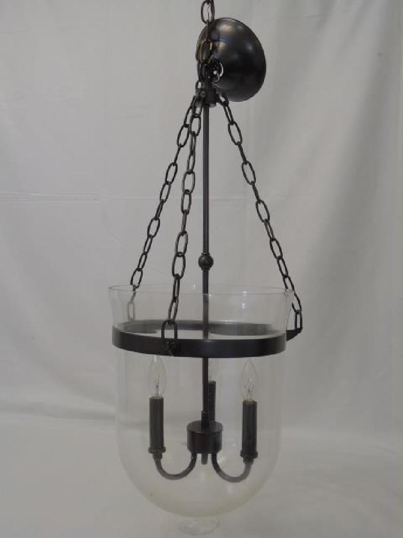 Glass Inverted Cloche 3 Arm Lantern Chandelier - 2