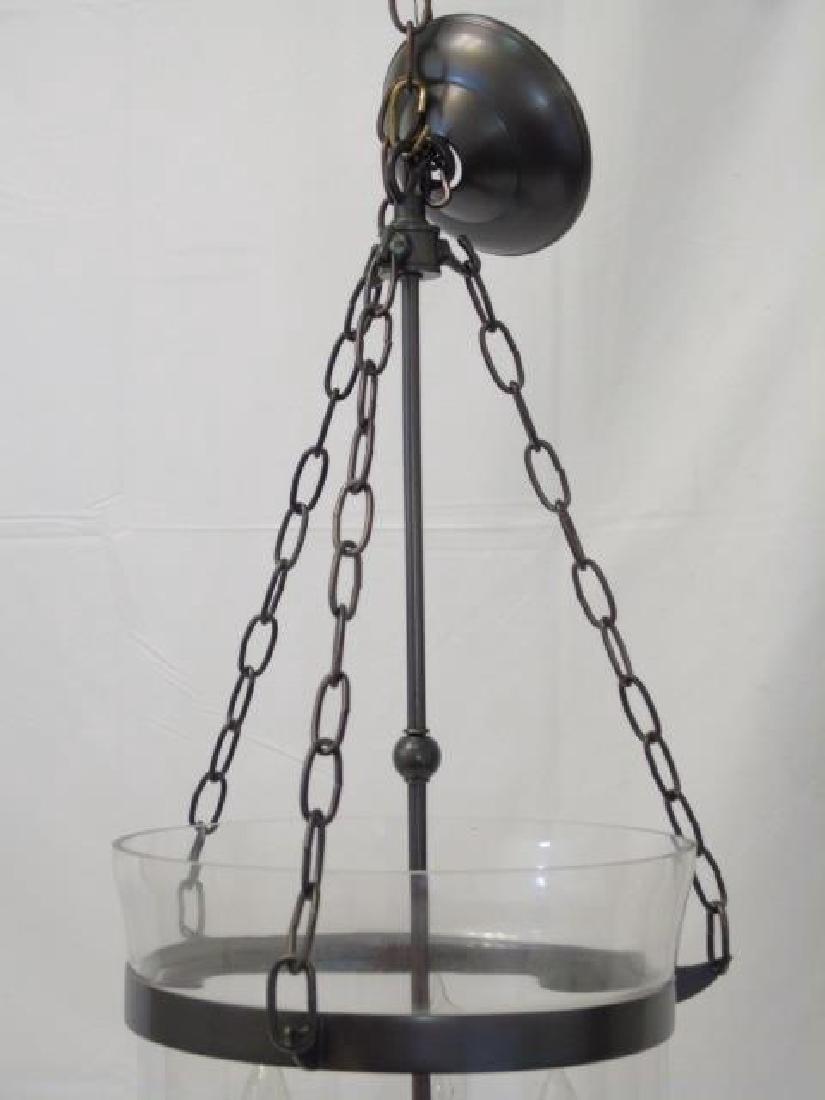 Glass Inverted Cloche 3 Arm Lantern Chandelier - 4