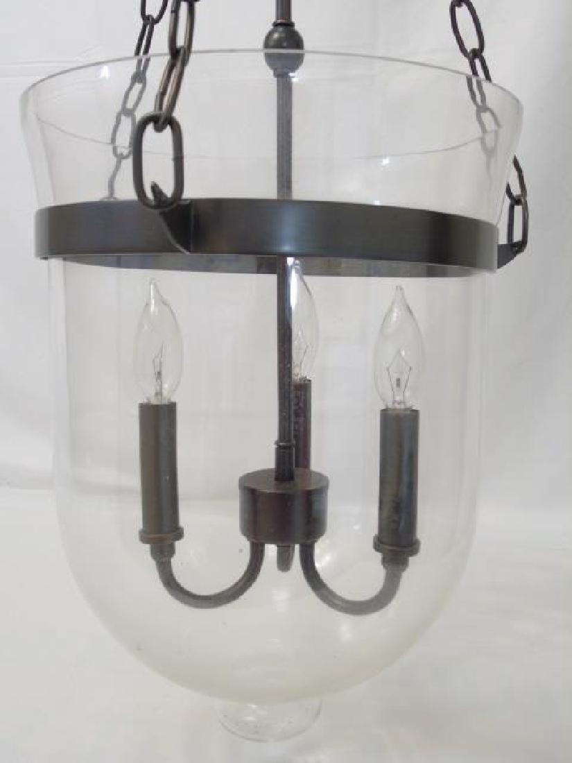 Glass Inverted Cloche 3 Arm Lantern Chandelier - 5