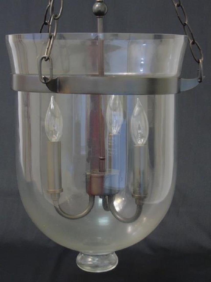 Glass Inverted Cloche 3 Arm Lantern Chandelier - 6