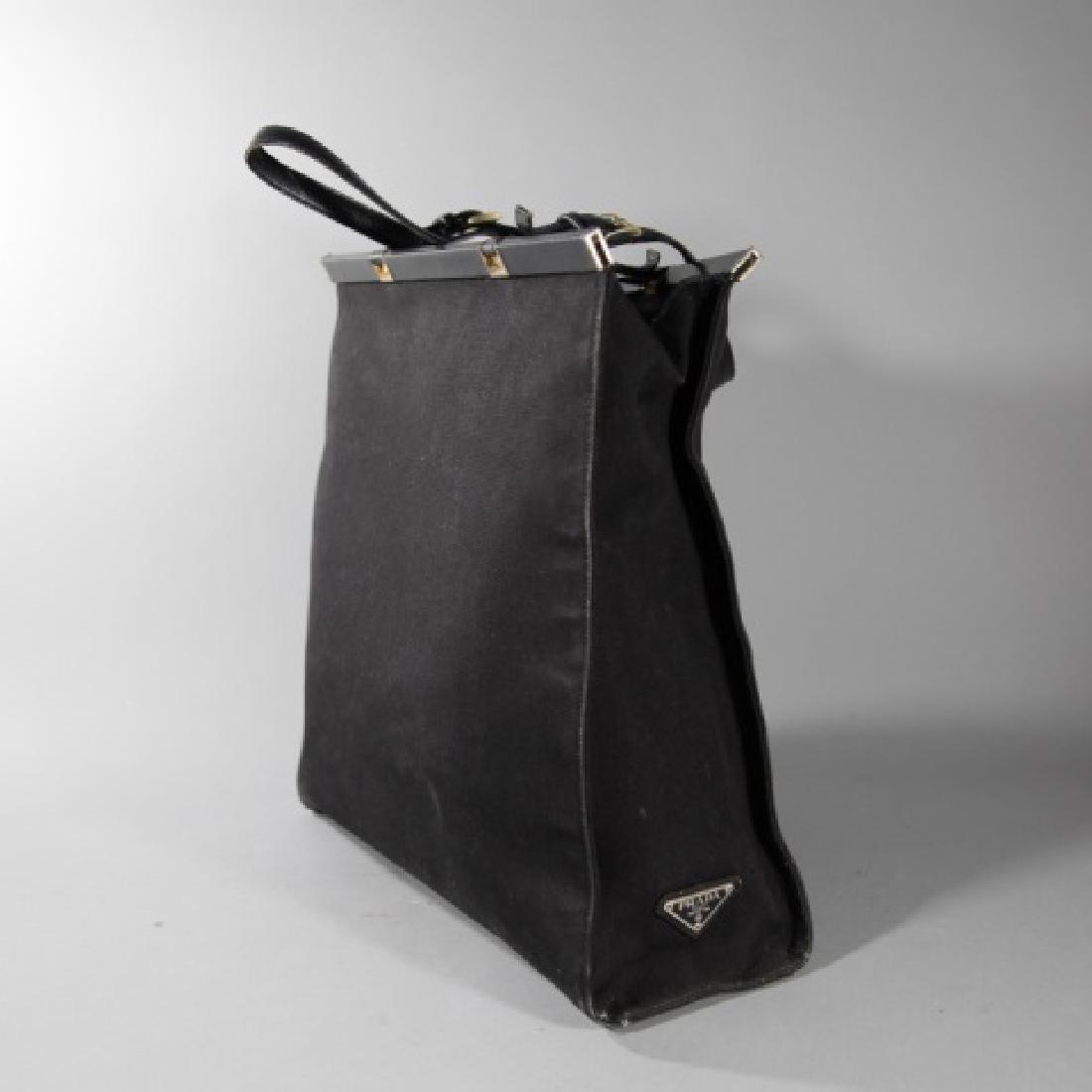 Vintage Black Canvas & Leather Prada Purse