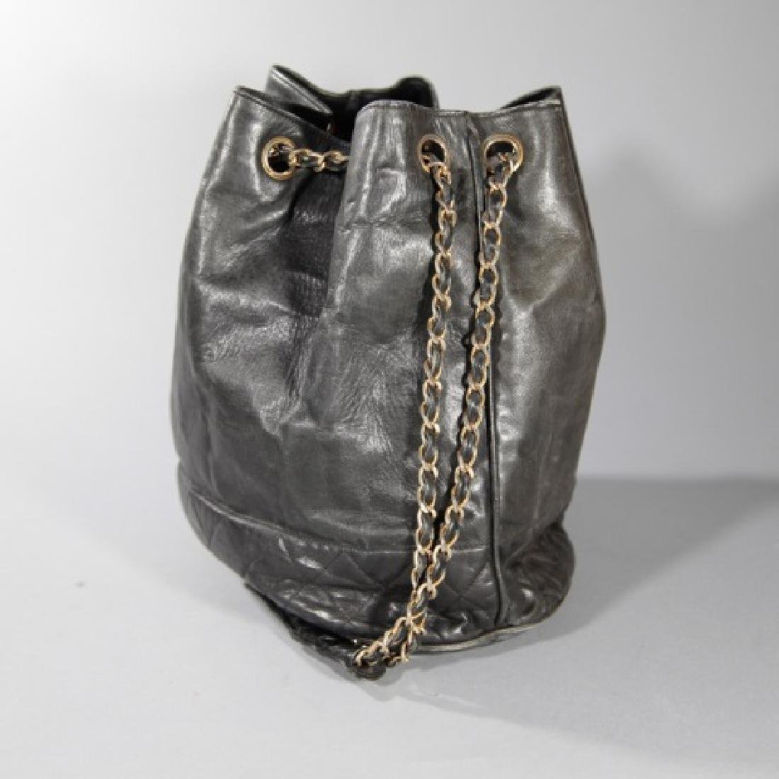 Vintage Black Quilted Leather Chanel Purse - 3