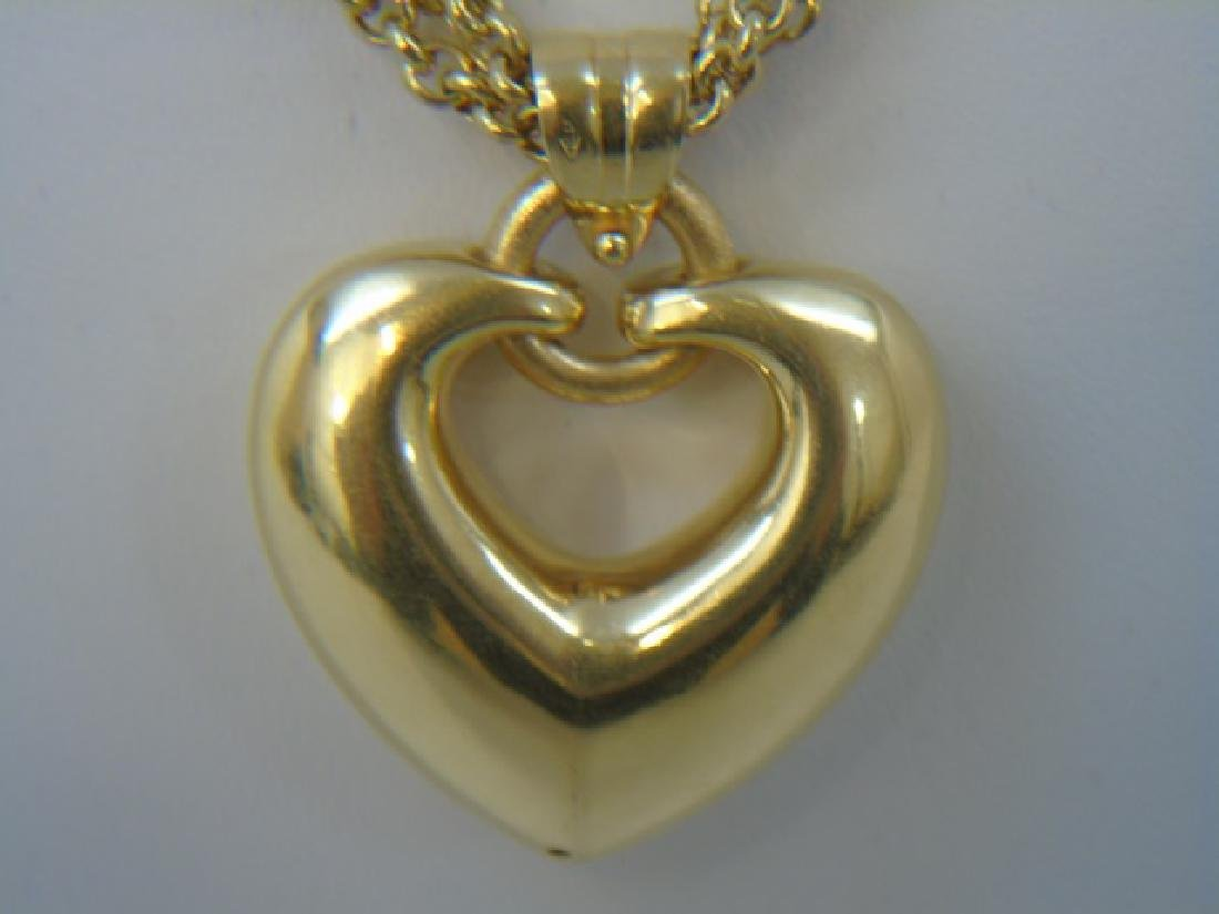 Estate 18kt Italian Yellow Gold Heart Necklace - 3