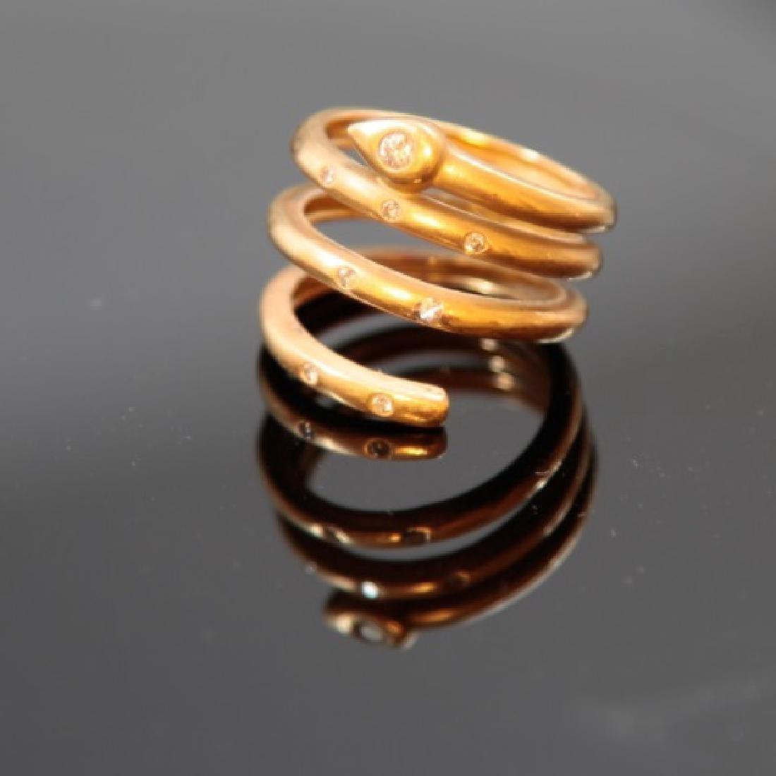 Estate 18kt Yellow Gold & Diamond Snake Ring