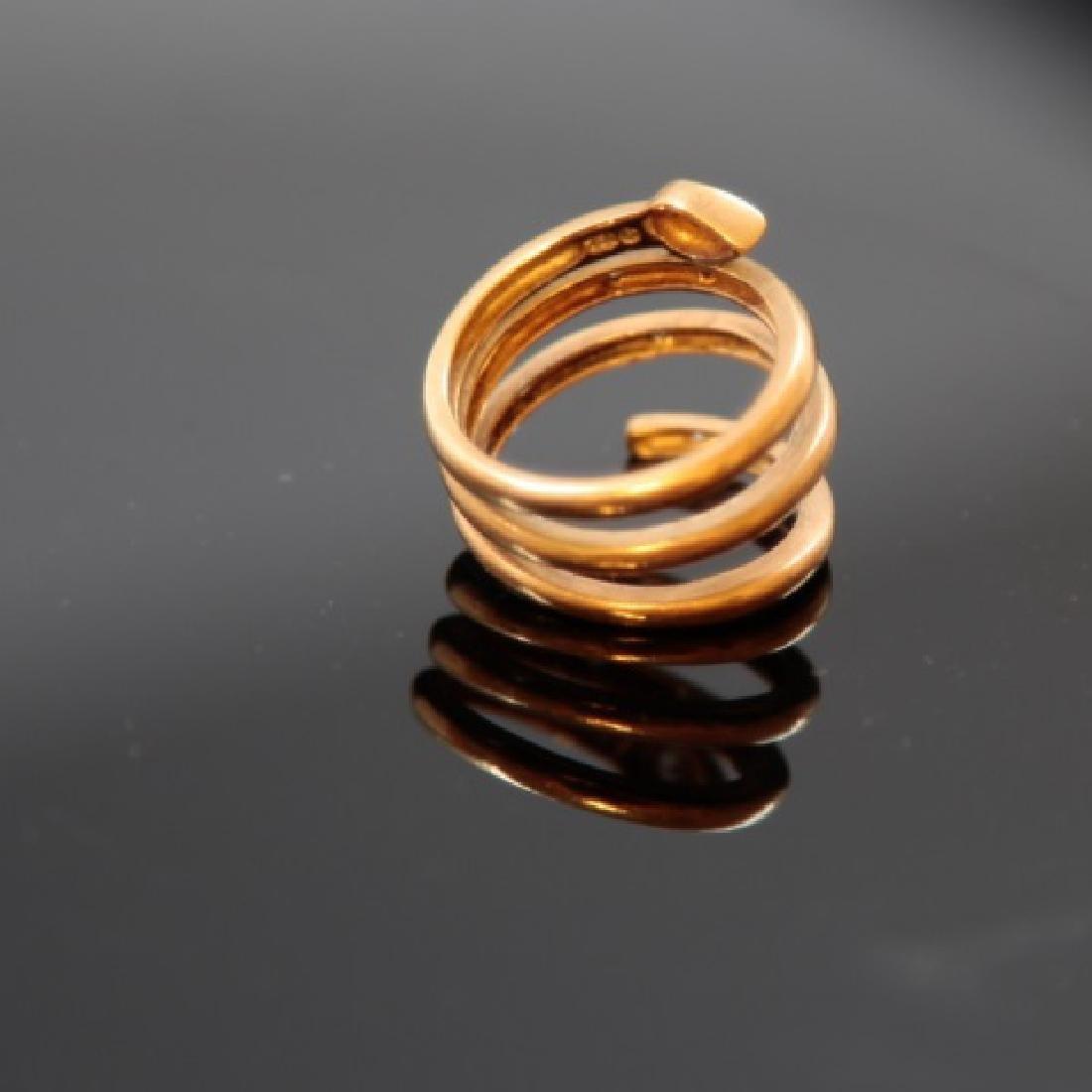 Estate 18kt Yellow Gold & Diamond Snake Ring - 2