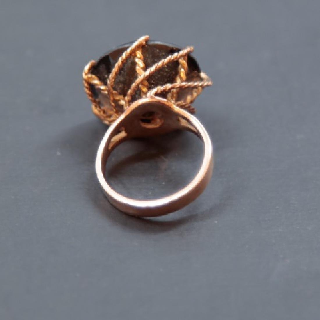 Estate Large Smoky Topaz & Gold Cocktail Ring - 2