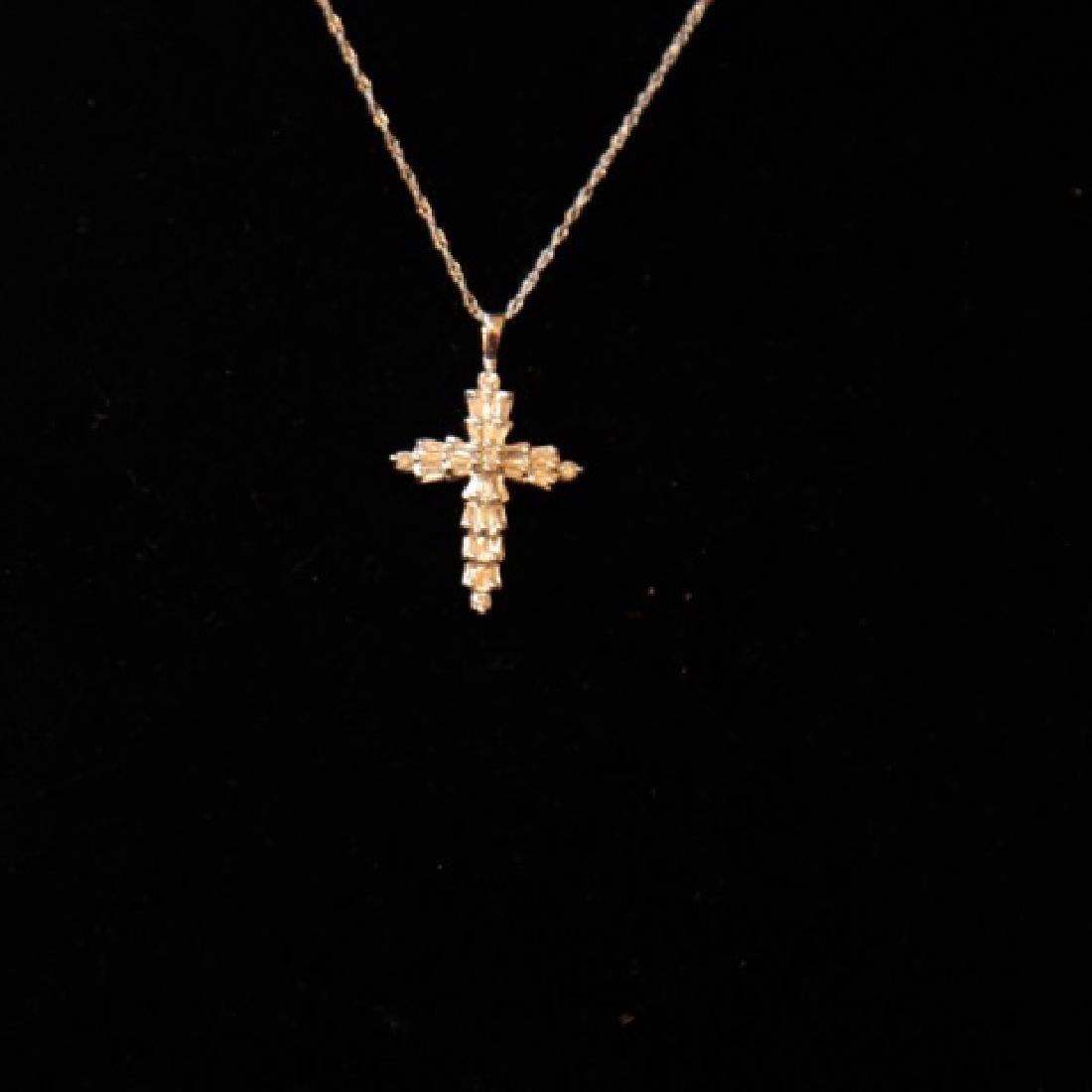 14kt Gold Lot - Diamond Cross & Diamond Heart - 2