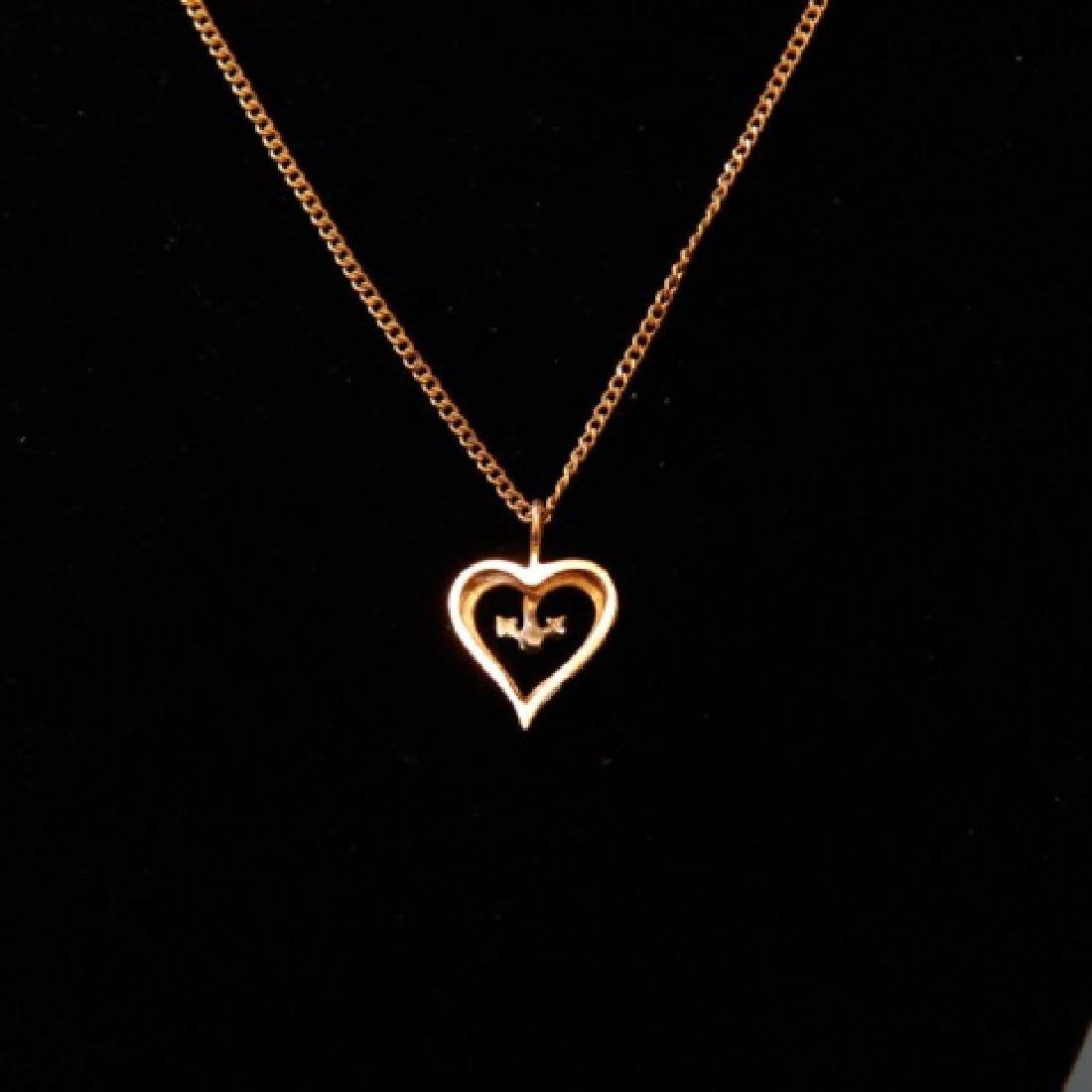 14kt Gold Lot - Diamond Cross & Diamond Heart - 4