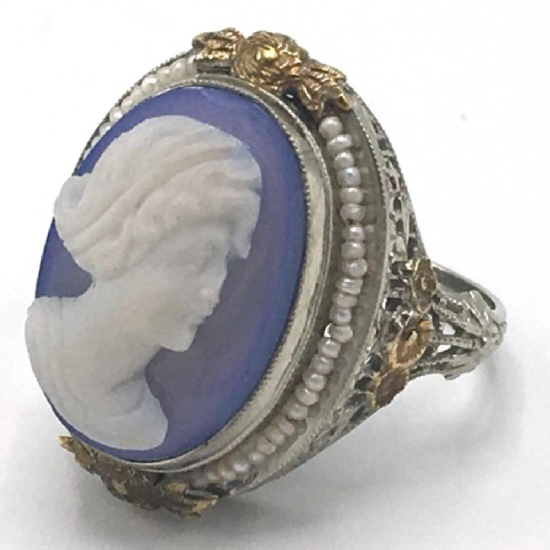 Estate Victorian 14kt Gold Cameo Seed Pearl Ring