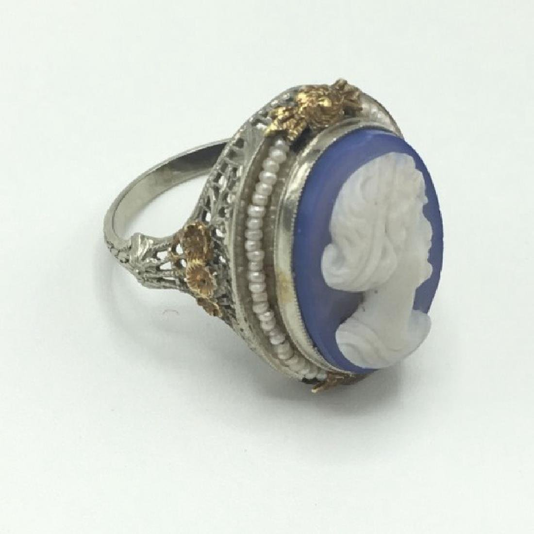 Estate Victorian 14kt Gold Cameo Seed Pearl Ring - 3