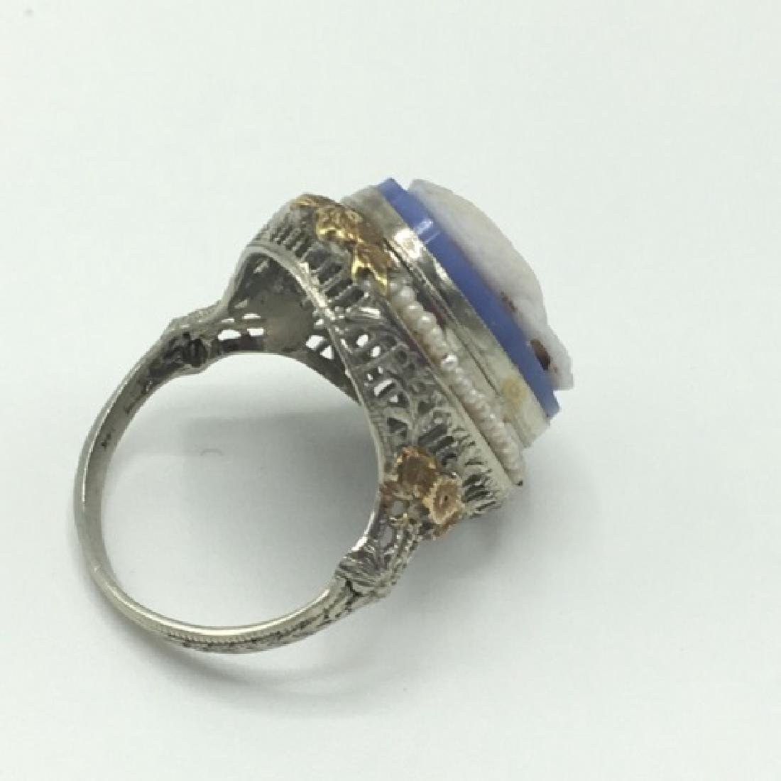 Estate Victorian 14kt Gold Cameo Seed Pearl Ring - 4