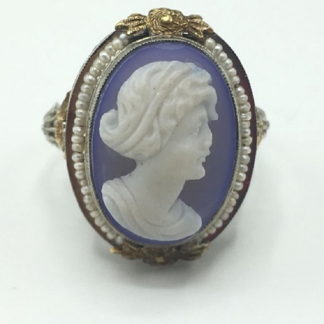 Estate Victorian 14kt Gold Cameo Seed Pearl Ring - 5