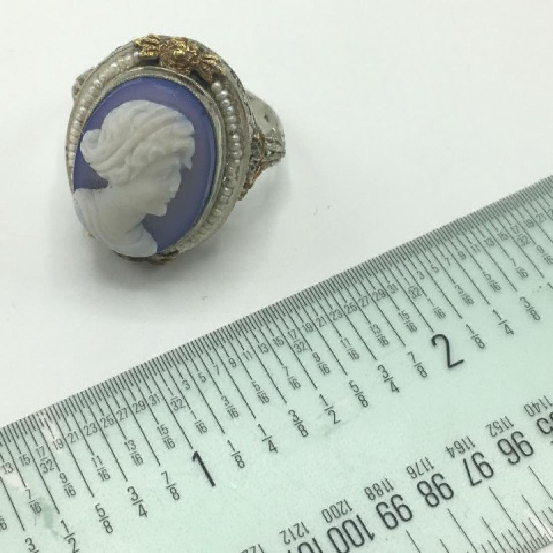 Estate Victorian 14kt Gold Cameo Seed Pearl Ring - 6