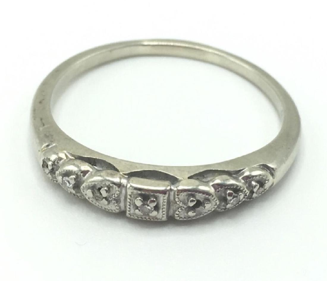 Estate Edwardian 14k White Gold Diamond Band Ring