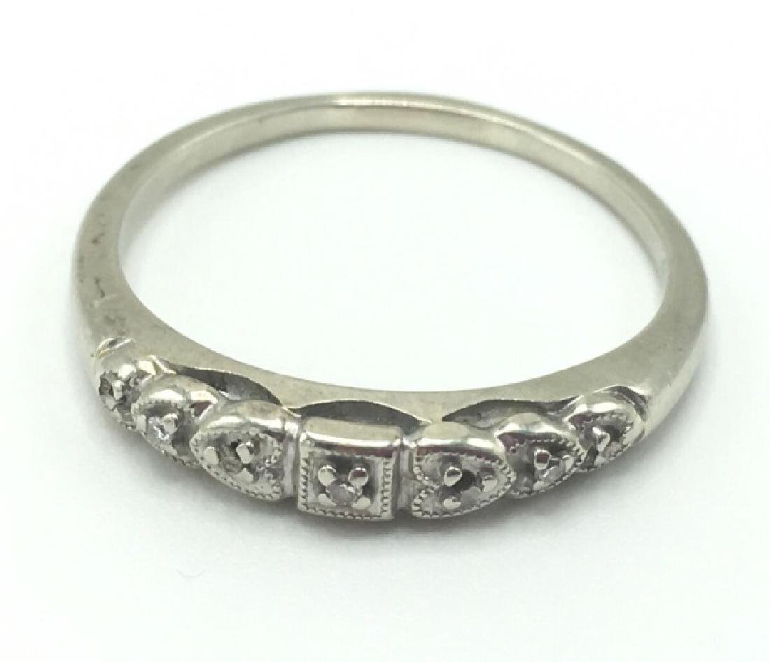 Estate Edwardian 14k White Gold Diamond Band Ring
