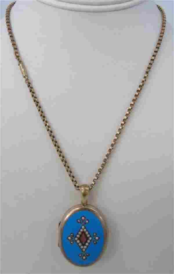 Antique 19th C English 9kt Gold Locket & Chain
