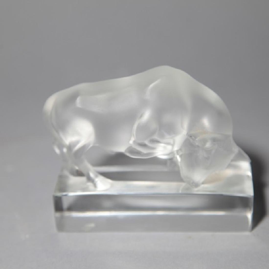 Lalique French Art Glass Charging Bull - 3