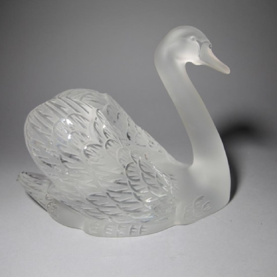 Large Lalique French Art Glass Statue of a Swan