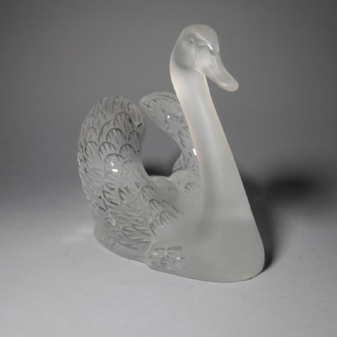 Large Lalique French Art Glass Statue of a Swan - 2