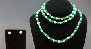 """Pair Green Jade & Baroque Pearl 24"""" Necklaces"""