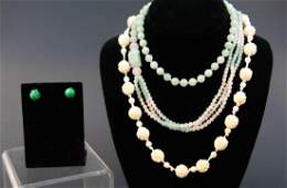 Estate Chinese Carved Jade & Bone Necklaces
