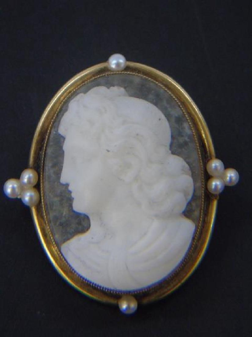 Fine Antique 19th C Agate Pearl & Gold Cameo