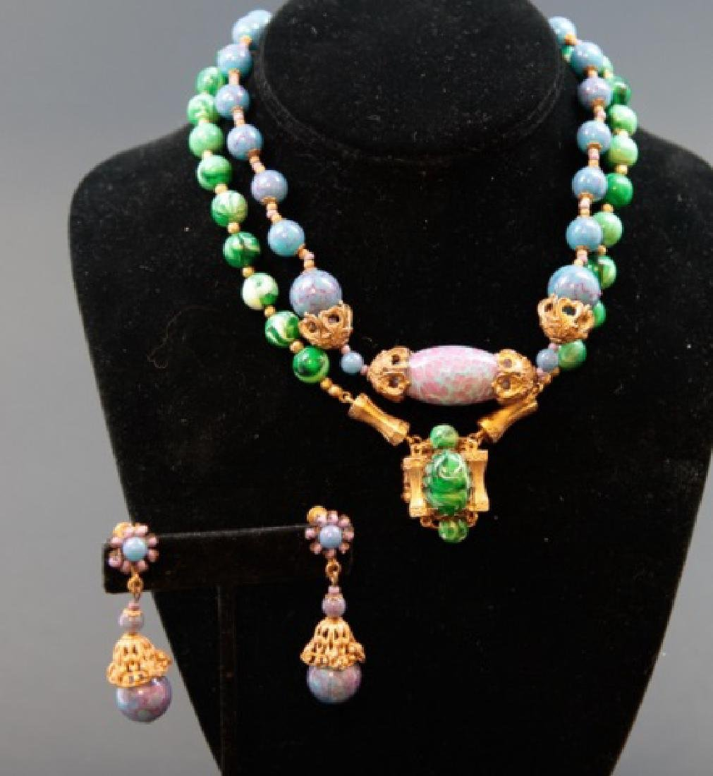 Vintage Miriam Haskell 2 Necklaces & Pair Earrings