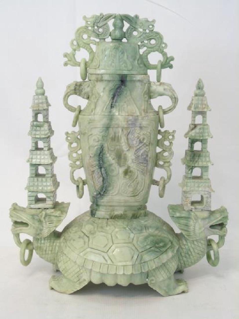 Large Chinese Carved Jade Vase on Turtle Statue