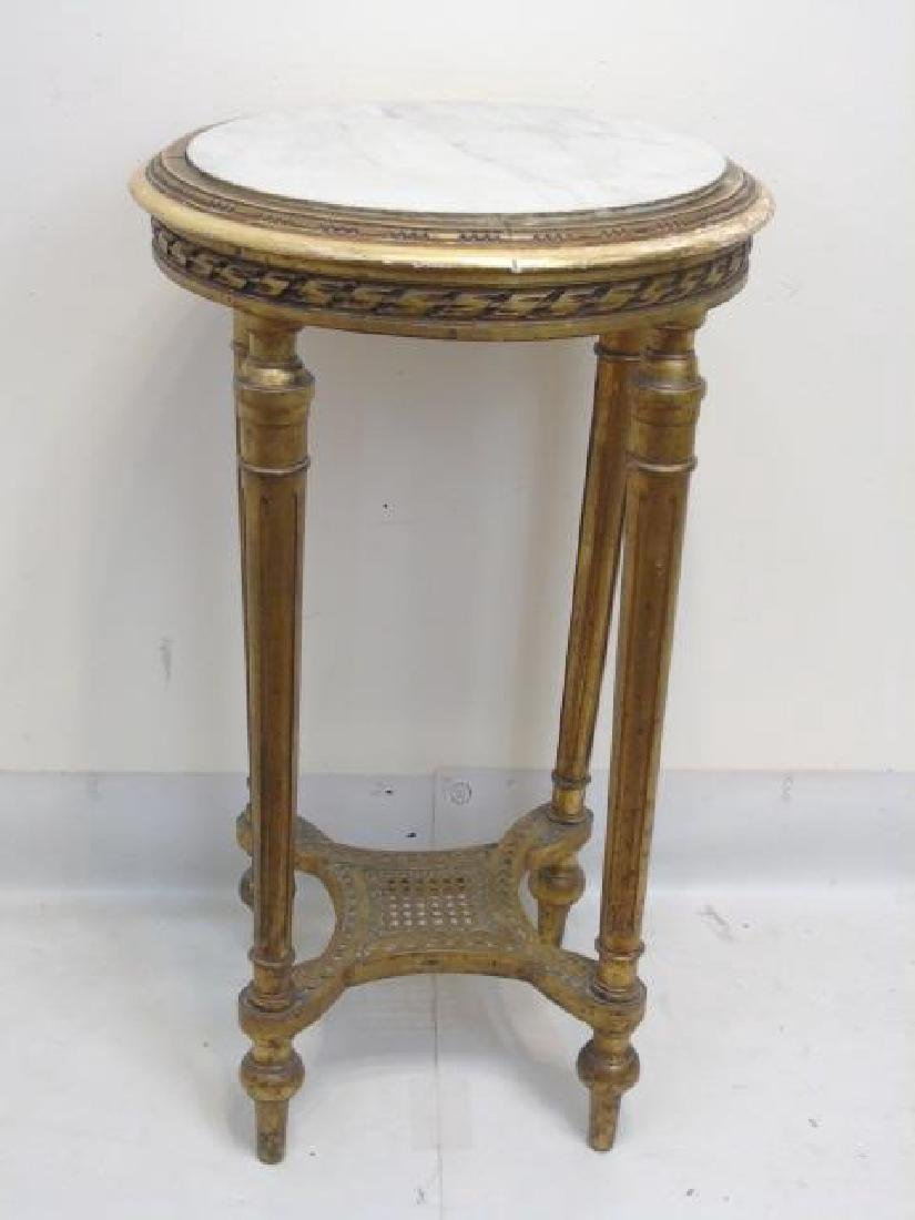 Round Bronze Marble Top Accent Table w Lower Shelf