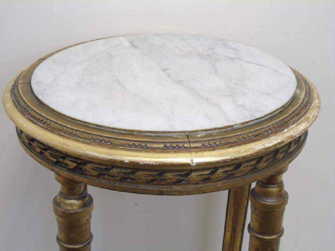 Round Bronze Marble Top Accent Table w Lower Shelf - 2