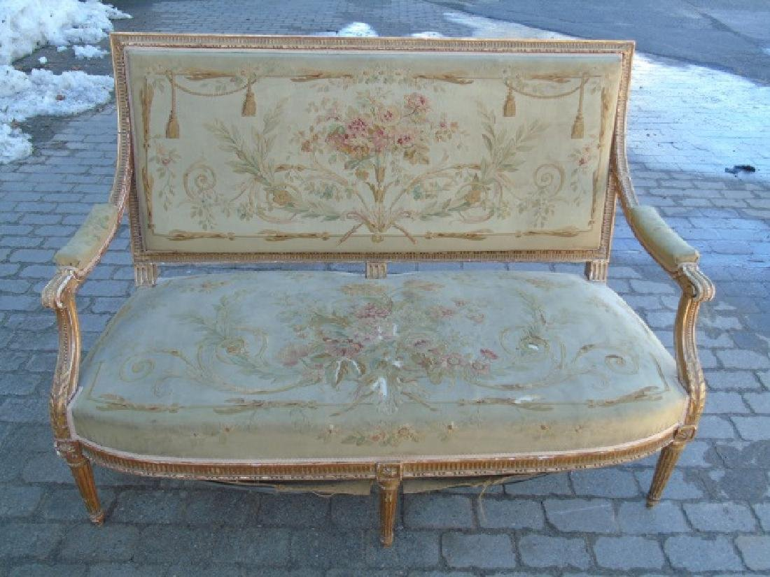 Antique French Aubusson Tapestry Gold Leaf Settee