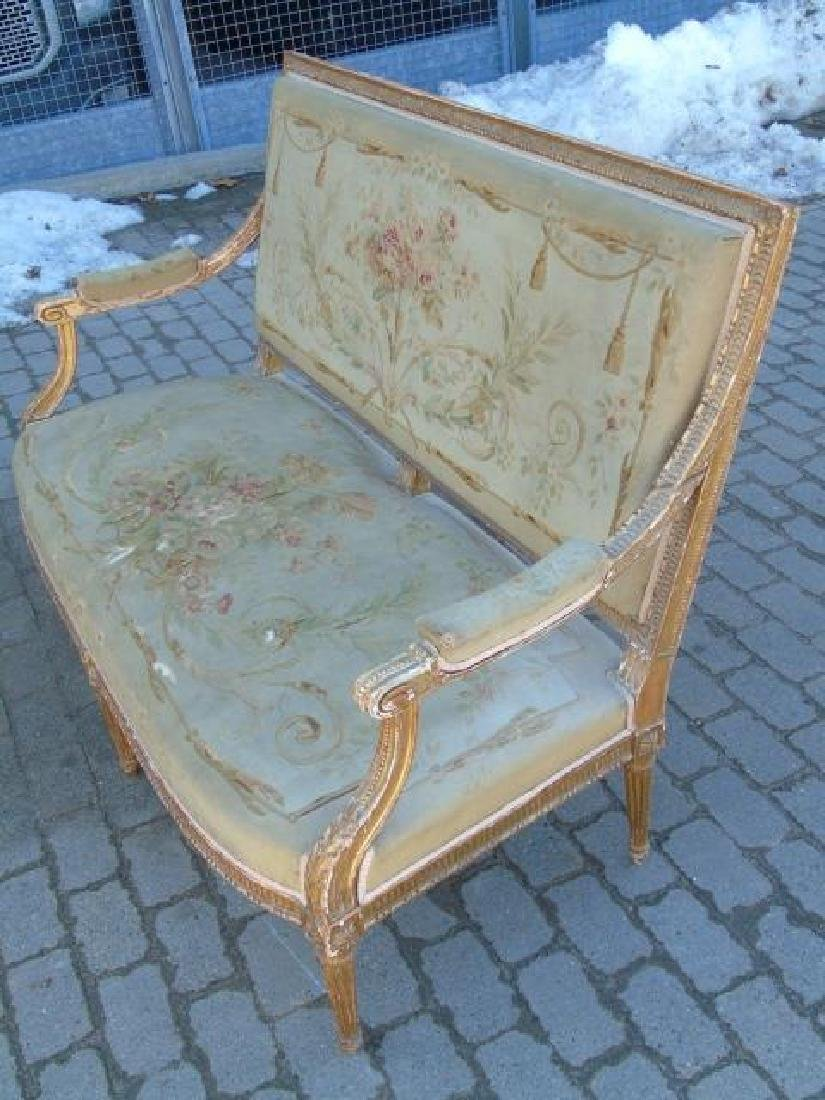 Antique French Aubusson Tapestry Gold Leaf Settee - 3