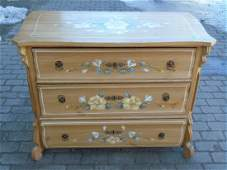 Antique Hand Painted Floral Motif 3 Drawer Chest