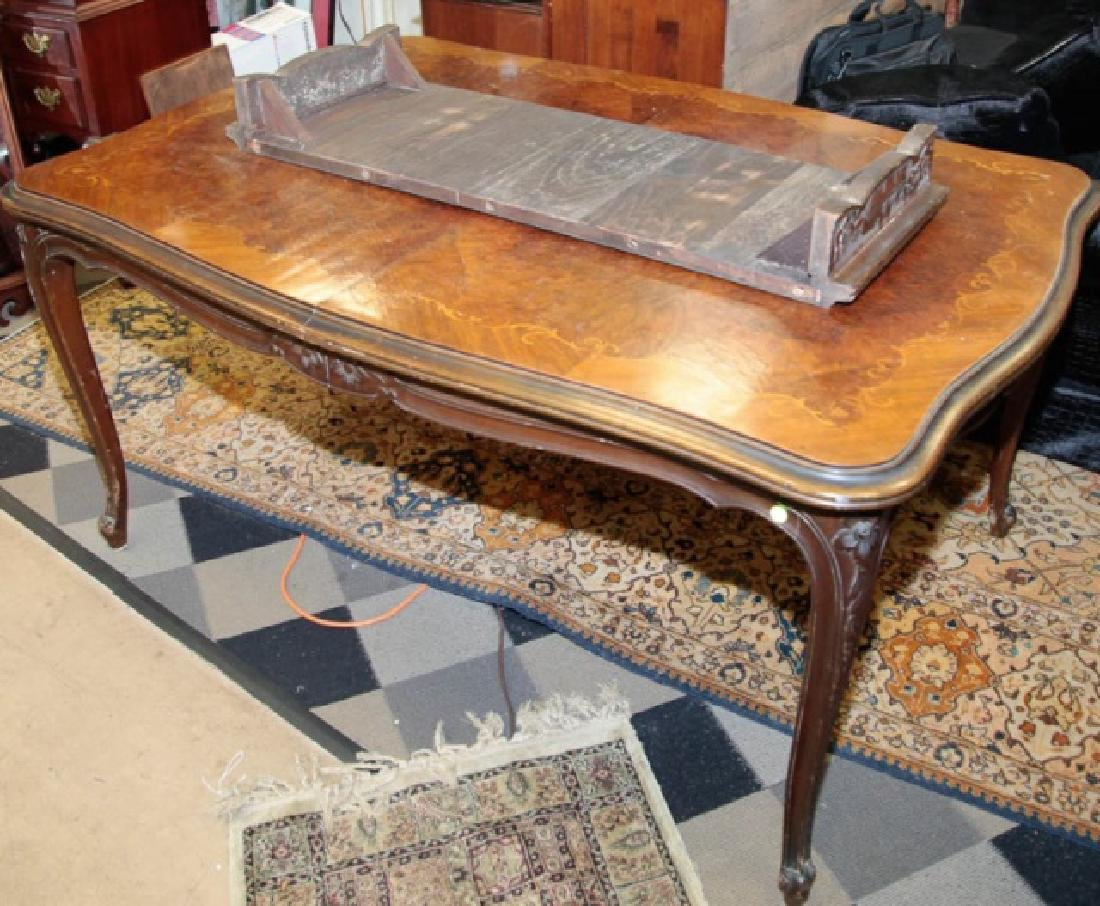 Antique Wood Inlaid Dining Table w Additional Leaf