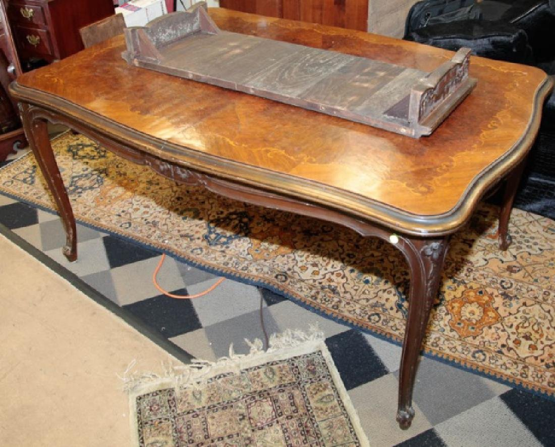 Antique Wood Inlaid Dining Table w Additional Leaf - 3