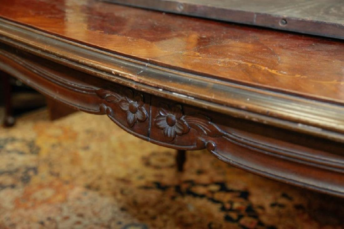 Antique Wood Inlaid Dining Table w Additional Leaf - 4