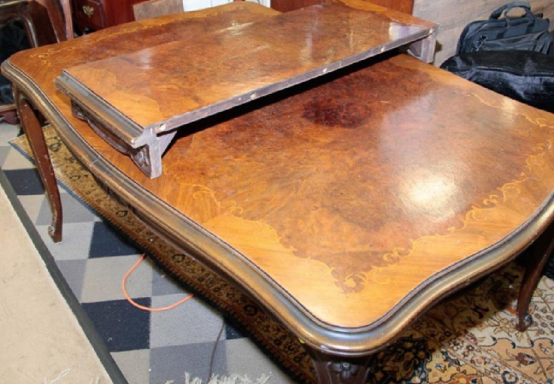 Antique Wood Inlaid Dining Table w Additional Leaf - 6