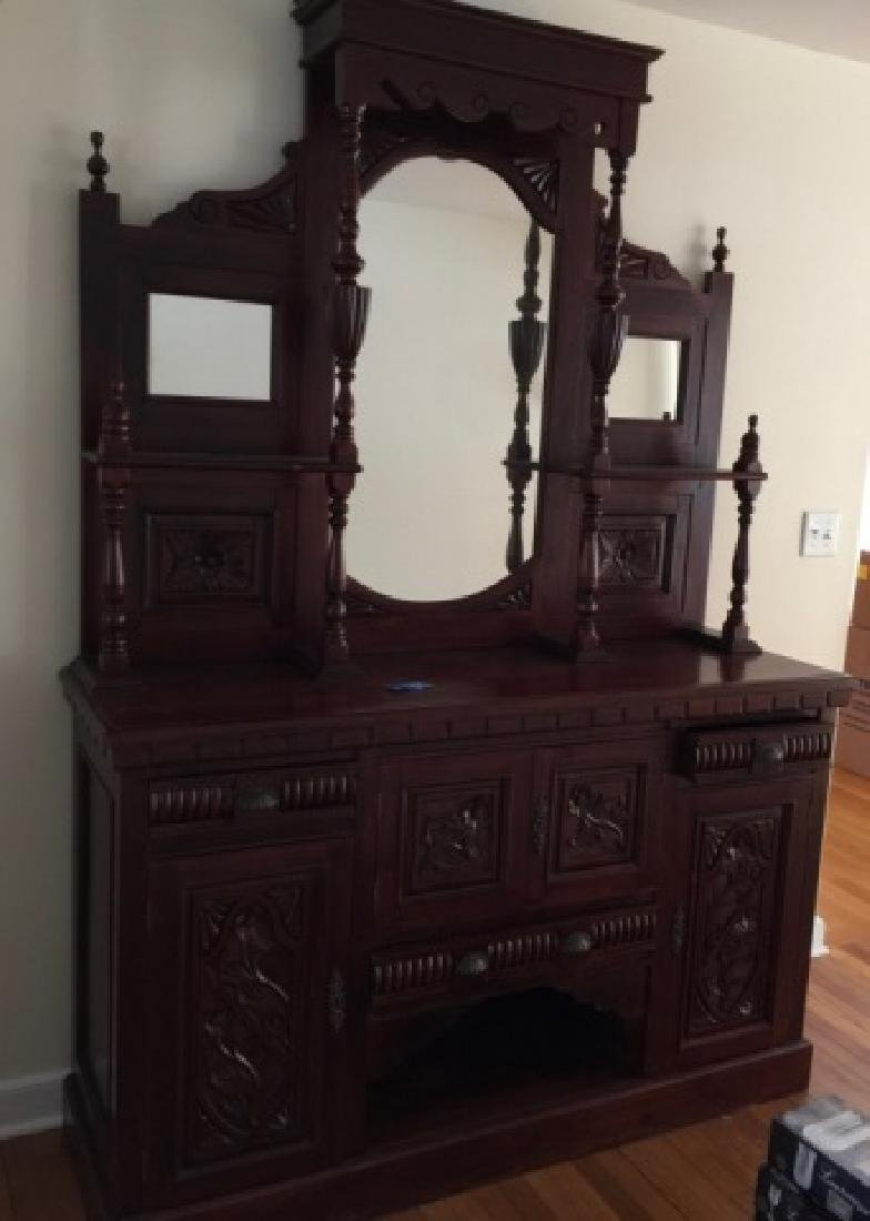 19th C Victorian Etagere Carved Wood w Mirrors