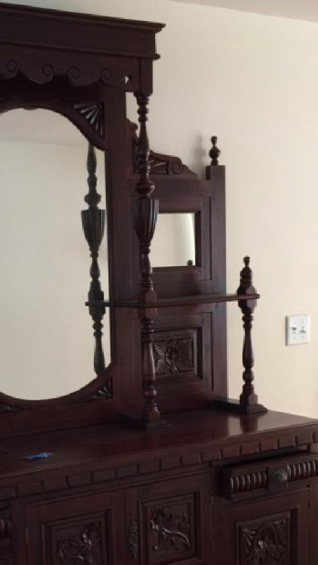 19th C Victorian Etagere Carved Wood w Mirrors - 3