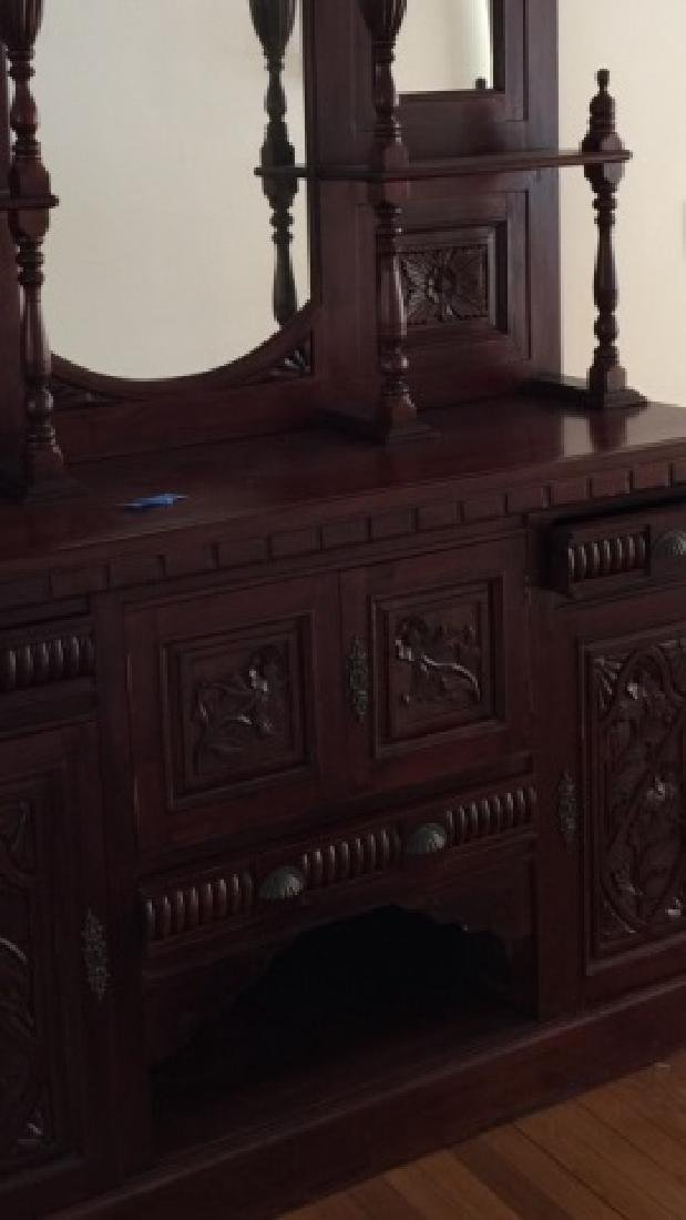 19th C Victorian Etagere Carved Wood w Mirrors - 4