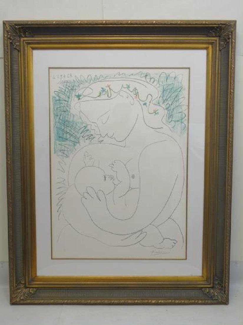 Picasso Pencil Signed Lithograph: Maternity