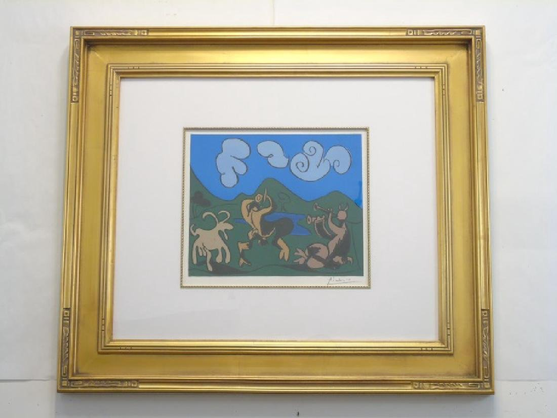Picasso Pencil-Signed Lithograph: Black Bull~Faun
