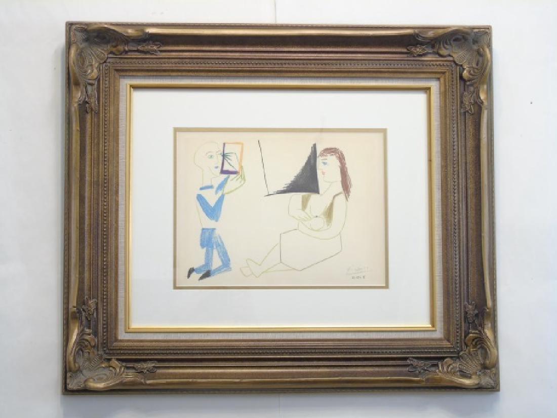 Picasso Pencil-Signed Lithograph: Clown & Acrobat