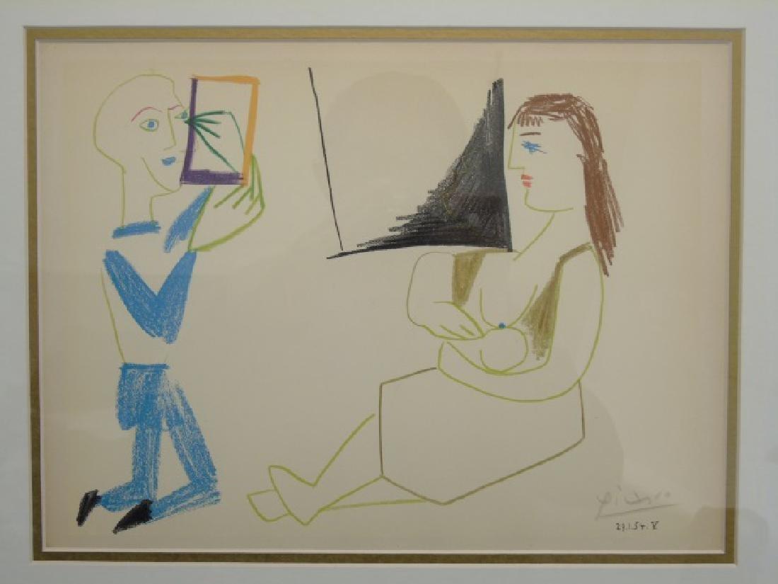 Picasso Pencil-Signed Lithograph: Clown & Acrobat - 2