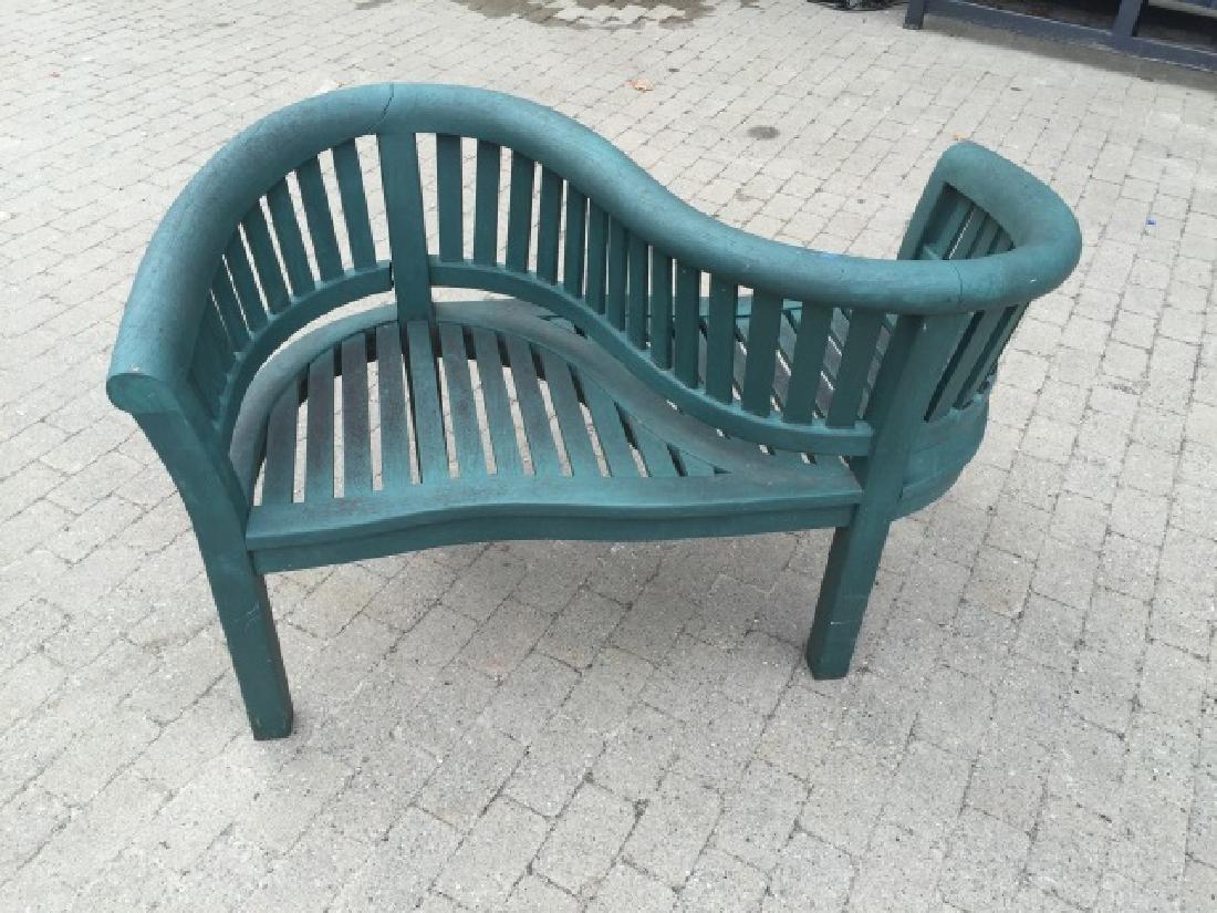 Carved Wood Garden / Patio Tete a Tete Bench - 3