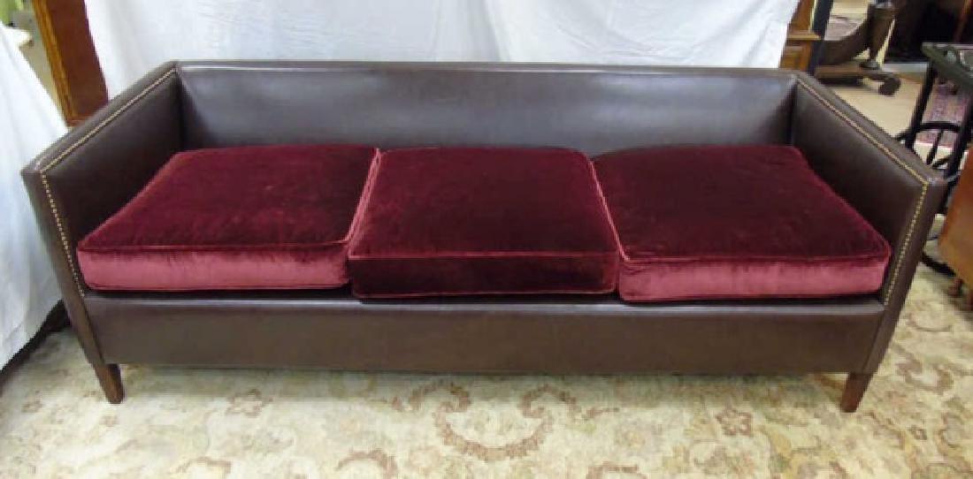Contemporary Custom Made Leather & Velvet Sofa